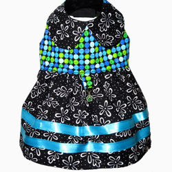 Picture of Dog Dress - Black Floral/Trendy Dots