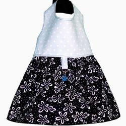 Picture of Dog Dress - Black Floral/Polka Dots on Blue