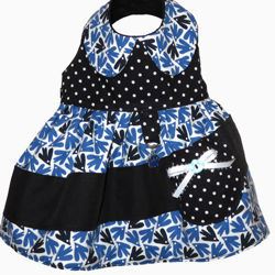 Picture of Dog Dress - Birds & Dots with collar